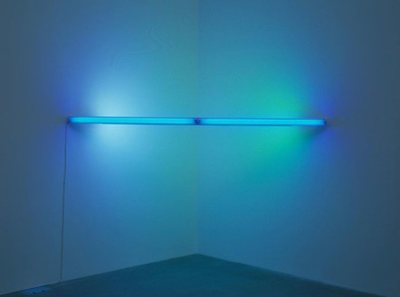 Dan Flavin, Untitled, 1969 Blue, yellow, and pink fluorescent light, 96 inches wide, across a corner (244 cm)