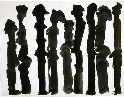 David Smith, Untitled, 1955 Egg ink on paper, 17 ½ × 22 ½ inches (44.4 × 57.2 cm)