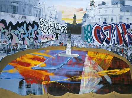 Dexter Dalwood, The Poll Tax Riots, 2005 Oil on canvas, 98 ½ × 134 inches (250 × 340 cm)