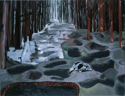 Dexter Dalwood, Trial of Milosevic I, 2005 Oil on canvas, 105 ½ × 136 ⅞ inches (268 × 347.7 cm)