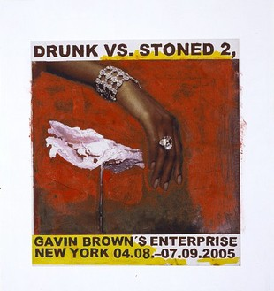 Franz West, Poster Design (Drunk vs. Stoned), 2005 Collage and gouache on foamcore, 26 × 27 inches (66 × 68.6 cm)