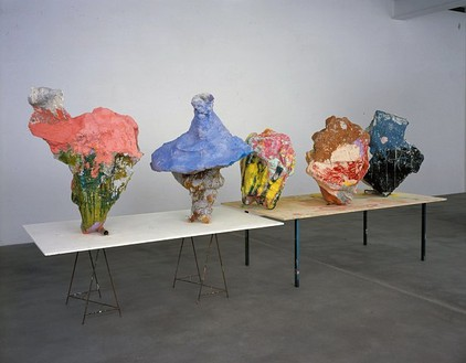 Franz West, Workingtable and Worktop, 2006 Five papier maché sculpture on table, Dimensions variable