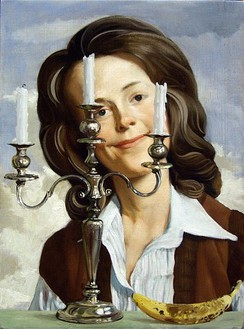 John Currin, Anna, 2004 Oil on linen, 24 × 18 inches (61 × 45.7 cm)