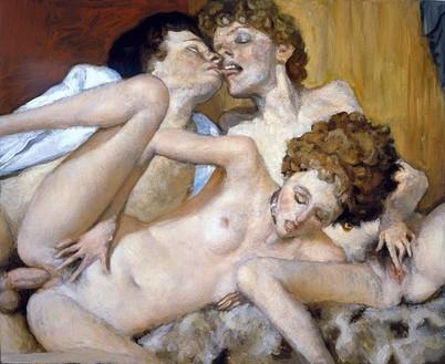 John Currin, The Danes, 2006 Oil on canvas, 18 × 22 inches (45.7 × 55.9 cm)