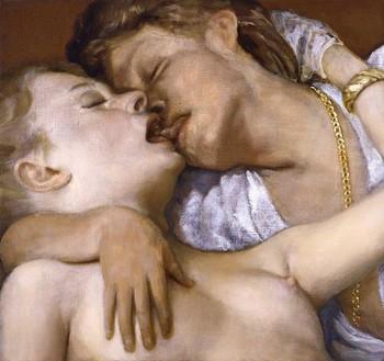 John Currin, Kissers, 2006 Oil on canvas, 23 × 25 inches (58.4 × 63.5 cm)