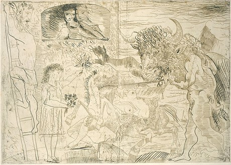 Pablo Picasso, La Minotauromachie (State I), 1935 Etching, scraper and burin on copper, 19 ½ × 27 ¼ inches (49.8 × 69.3 cm)