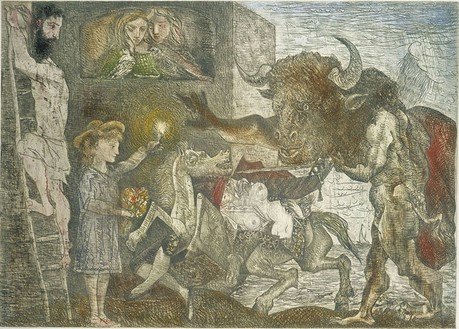 Pablo Picasso, La Minotauromachie (State VIII), 1935 Etching, scraper and burin on copper, 19 ½ × 27 ¼ inches (49.8 × 69.3 cm)
