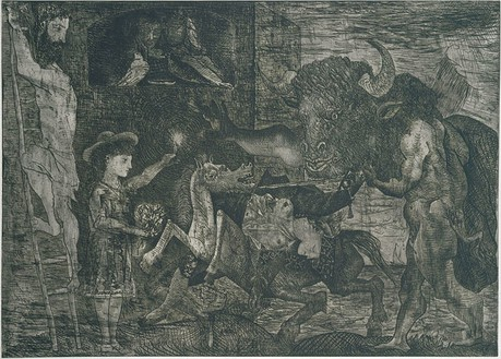 Pablo Picasso, La Minotauromachie (State V), 1935 Etching, scraper and burin on copper, 19 ½ × 27 ¼ inches (49.8 × 69.3 cm)