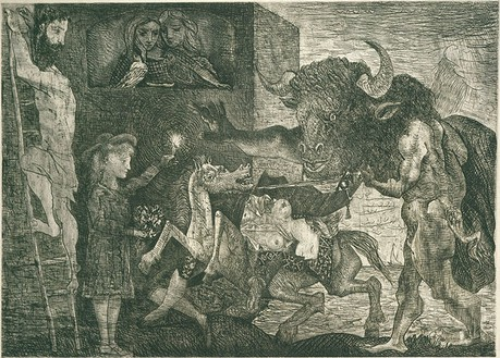 Pablo Picasso, La Minotauromachie (State VII), 1935 Etching, scraper and burin on copper, 19 ½ × 27 ¼ inches (49.8 × 69.3 cm)