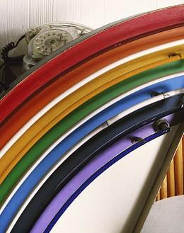 Roe Ethridge, Old Phone and Neon Rainbow, 2006 Chromogenic print, 40 ¼ × 32 ¼ inches (102.2 × 81.9 cm), edition of 5