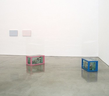 Damien Hirst, Adam and Eve, Blue for Adam and Pink for Eve, 1997 Glass, steel, formaldehyde solution, cow and bull's heads; Household gloss paint on canvas, 2 vitrines: 18 × 36 × 18 inches each (45.7 × 91.4 × 45.7 cm); 2 canvases: 15 × 23 inches each (38.1 × 58.4 cm)