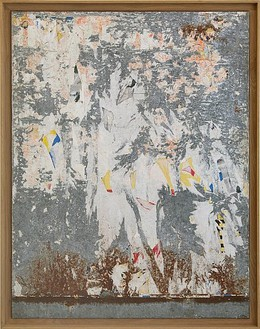 Raymond Hains, Untitled, 1964 Torn poster on canvas, 53 ½ × 44 ⅛ inches (135.9 × 112.1 cm)