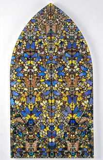 DAMIEN HIRST Livings Eternal Joyful Happiness, 2006 Butterflies and household gloss on canvas 89 5/8 × 48 inches unframed (227.6 × 121.9 cm)