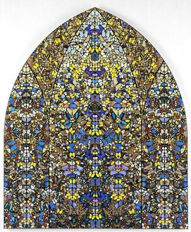 Damien Hirst, Aubade—Crown of Glory, 2006 Butterflies and household gloss on canvas, 115 ⅞ × 96 ⅛ inches (294.2 × 244.1 cm)© Damien Hirst
