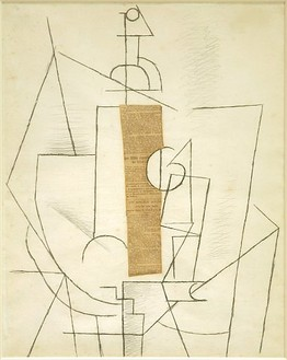 Pablo Picasso, Bottle and Glass, 1912 Charcoal and newspaper collage, 23-13/16 × 19 inches (60.5 × 48.3 cm)