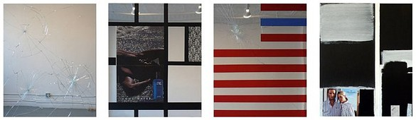 Josephine Meckseper, Untitled (Blackwater), 2007 Mirror glass, mixed paper, fabric on wood, 30 × 24 inches each (76.2 × 61cm each)