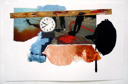 Dexter Dalwood, Reservoir, 2007 Collage, inkjet print, oil paint, acrylic paint and cloth, 11 ⅜ × 17-11/16 inches (29 × 45 cm)