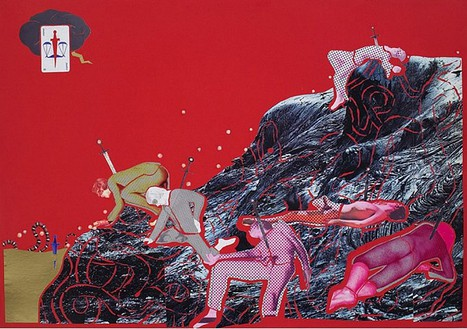 Christian Holstad, Volcanic Men in Pajamas with Snakes and Swords, 2004 Collage on posterboard, 27 ½ × 39 inches (69.8 × 99.1 cm)