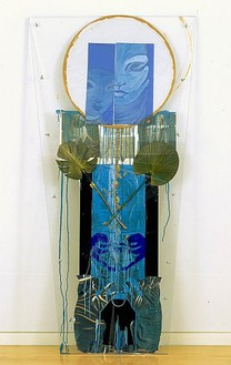 Rita Ackermann, blind/nofretete/cry, 2007 Acrylic, tape, paper and pencil on Plexiglas, 93 × 41 inches (236.2 × 104.1 cm)