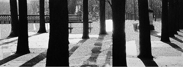 François-Marie Banier, Jardin du Luxembourg, 2003 Ink on b & w photograph, unique, 47 3/16 × 126 inches (120 × 320 cm)