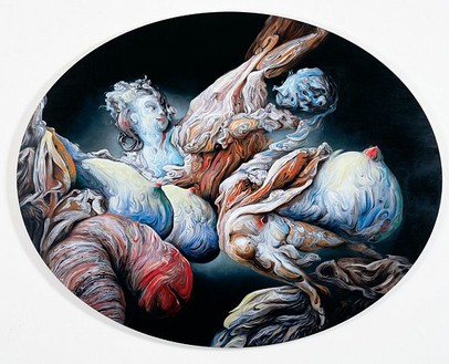 Glenn Brown, Senile Youth, 2007 Oil on panel, 48 × 61 ⅜ inches, oval (122 × 156 cm)
