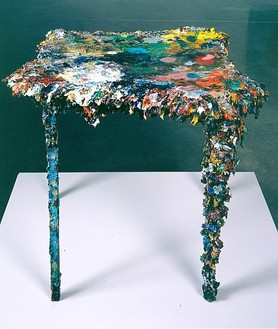 Glenn Brown, The Sound of Music, 1995–2007 Table, oil paint, 29 ⅞ × 35 ⅜ × 31 ½ inches (76 × 90 × 80 cm)