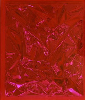 Anselm Reyle, Untitled, 2007 Mixed media and plexiglass, 27 ¾ × 23 ½ × 5 inches (70.5 × 59.7 × 12.7 cm)