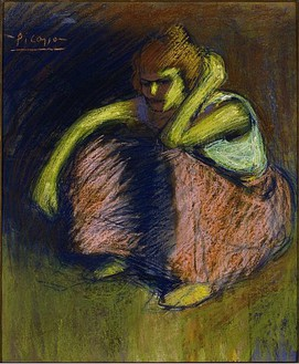 Pablo Picasso, La Jupe Rouge, 1901 Pastel on board, 21 13/16 × 18 ½ inches (55.4 × 47 cm)