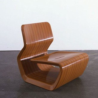 Marc Newson, Wingless Micarta Chair, 2007 Linen phenolic composite, 29 × 25 × 31 ⅜ inches (73.7 × 63.5 × 79.7 cm)