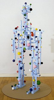 Tom Friedman, Robot, 2007 Blue foam insulation, styrofoam balls, acrylic paint, and cardboard, 66 × 46 × 46 inches (167.6 × 116.8 × 116.8 cm)
