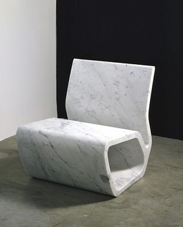 Marc Newson, Extruded Chair (white), 2006 White Carrara marble, 27 ½ × 23 ½ × 28 ¼ inches (69.8 × 59.7 × 71.8 cm), edition of 8