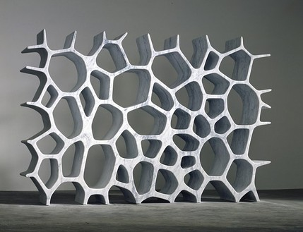 Marc Newson, Voronoi Shelf (white), 2006 White Carrara marble, 70 ⅞ × 110 ¼ × 15 ¾ inches (180.1 × 279.9 × 39.9 cm), edition of 8