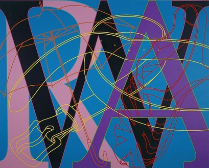 Michael Craig-Martin, Untitled (WAR), 2007 Acrylic on aluminium, 78-11/16 × 98 ⅜ inches (200 × 250cm)