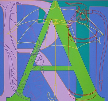 Michael Craig-Martin, Untitled (ART), 2007 Acrylic on aluminium, 78-11/16 × 84 ⅝ inches (200 × 215cm)