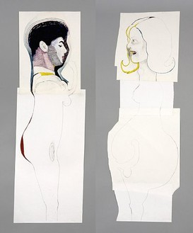 Mike Kelley, Mr. and Mrs. Hermaphrodite (2-Part), 2005 Mixed media, 65 3/16 × 47 5/16 inches framed (165.5 × 120.2 cm)