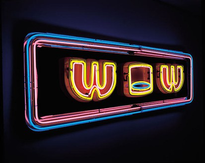 Tim Noble & Sue Webster, Walk On Water, 1998 Stainless and enamelled steel, neon, electronic light sequencer (3-channel caterpillar effect), transformers, 81 ⅞ × 24 inches (208 × 61 cm)