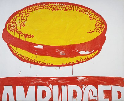 Andy Warhol, Hamburger, 1965–86 Acrylic and silkscreen ink on canvas, 50 × 60 inches (127 × 152.4 cm)