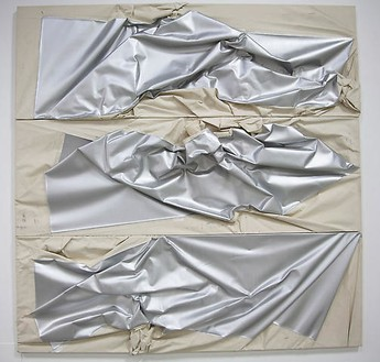 Steven Parrino, 3 Units Aluminum Death Shifter, 1992 Enamel on canvas, 3 elements: 108 ¾ × 106 ¼ × 14 inches overall (276.24 × 270 × 35.56 cm)