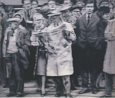 Gerhard Richter, Personegruppe (Group of People), 1965 Oil on canvas, 66 ⅞ × 78 11/16 inches (170 × 200 cm)