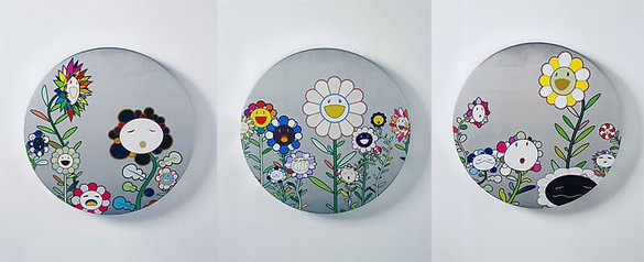Takashi Murakami, Chit Chat, 2007 Acrylic and platinum leaf on canvas mounted on board, 3 panels: 23 ⅝ inches diameter each (60 cm)© 2007 Takashi Murakami/Kaikai Kiki Co., Ltd. All Rights Reserved