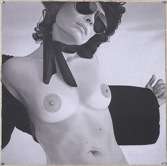 Richard Phillips, Isa Genzken, 2006 Charcoal on paper, 24 × 24 inches (61 × 61 cm)Photo by Rob McKeever