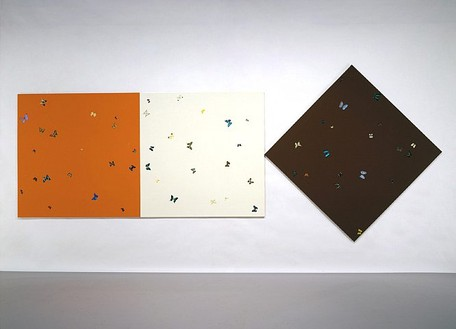 Damien Hirst, The Sun, The Moon and The Earth, 2007 Butterflies and household gloss paint on canvas, Triptych: 72 × 72 inches (182.9 × 182.9 cm); 72 × 72 inches (182.9 × 182.9 cm); 102 × 102 inches (259.1 × 259.1 cm)