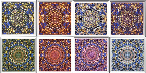 Damien Hirst, St. Paul's, Duomo, 2007 Set of 8 silkscreen prints with glazes on paper, 4 of which have diamond dust, 8 prints: 47 ¼ × 47 ¼ inches each (120 × 120 cm)