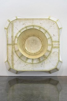 Tom Sachs, Aft Heat Shield / Descent Engine Skirt, 2007 Plywood, foamcore, latex, resin, fiberglass and steel, 110 × 110 × 43 inches (279.4 × 279.4 × 109.2cm)Photo by Genevieve Hanson