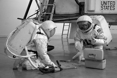 Installation view with astronauts harvesting the lunar sample Photo: Joshua White