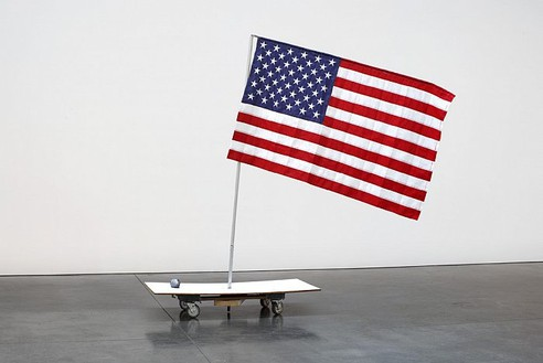 Tom Sachs, NY Demo Flag, 2007 Nylon, steel, plywood and latex, 81 × 70 × 65 inches (205.7 × 177.8 × 165.1 cm)Photo by Genevieve Hanson