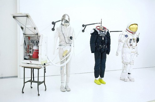 Tom Sachs, Space Suits, 2007 Mixed media, 75 × 37 × 57 inches each (190.5 × 94 × 144.8 cm), Installation: 75 × 147 × 58 inches (190.5 × 373.4 × 147.3 cm)