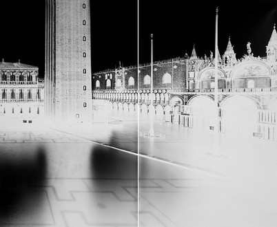 Vera Lutter, San Marco, Venice, XX: December 3, 2005, 2005 Unique gelatin silver print, 2 panels: 91 × 112 inches overall (231.1 × 284.5 cm)
