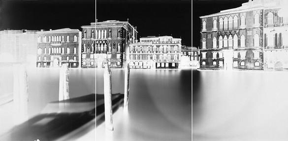Vera Lutter, Ca del Duca Sforza, Venice, I: November 5, 2005, 2005 Unique gelatin silver print, 3 panels: 80 × 168 inches overall (203.2 × 426.7 cm)