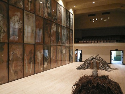 Anselm Kiefer, Palmsonntag, 2007 36 panels of mixed media on board (in lead frame under glass), fiberglass and resin palm tree, clay bricks and steel support, Dimensions variablePhoto by Joshua White